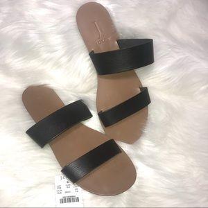 J Crew Black Easy Summer Slide Sandals Sz 7M NWT
